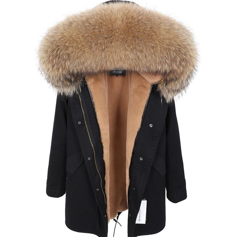 Maomaokong Yeni Gerçek Rakun Kürk Yaka Ceket kadın Giyim Uzun Kalın Sıcak Ceket Kadın Kış Ceket Parkas Kadın Ceket 201211