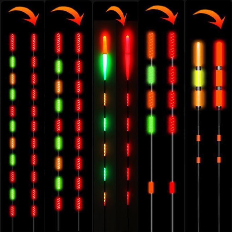 Pesca inteligente LED luz luminosa brilhando flutua peixe mordida automaticamente lembrar acessórios de cauda de bóia de pesca elétrica