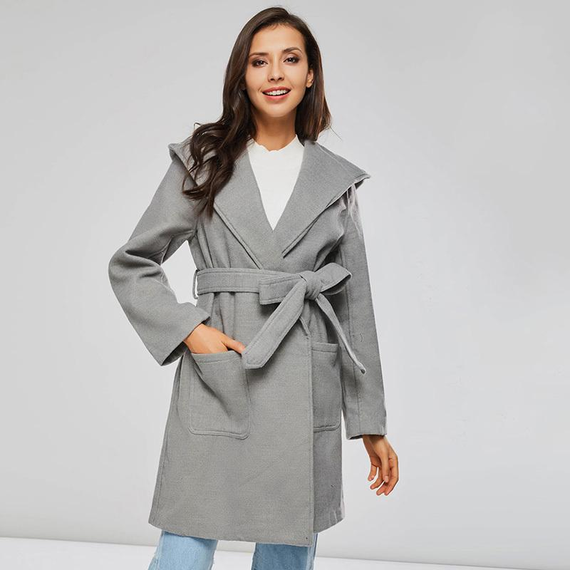 2021 Women's Wool Winter Oversize Coats with Minimal Loose Hoodie Until Elegant Gray Outwear Hot Sale Spring Coat Lu5q