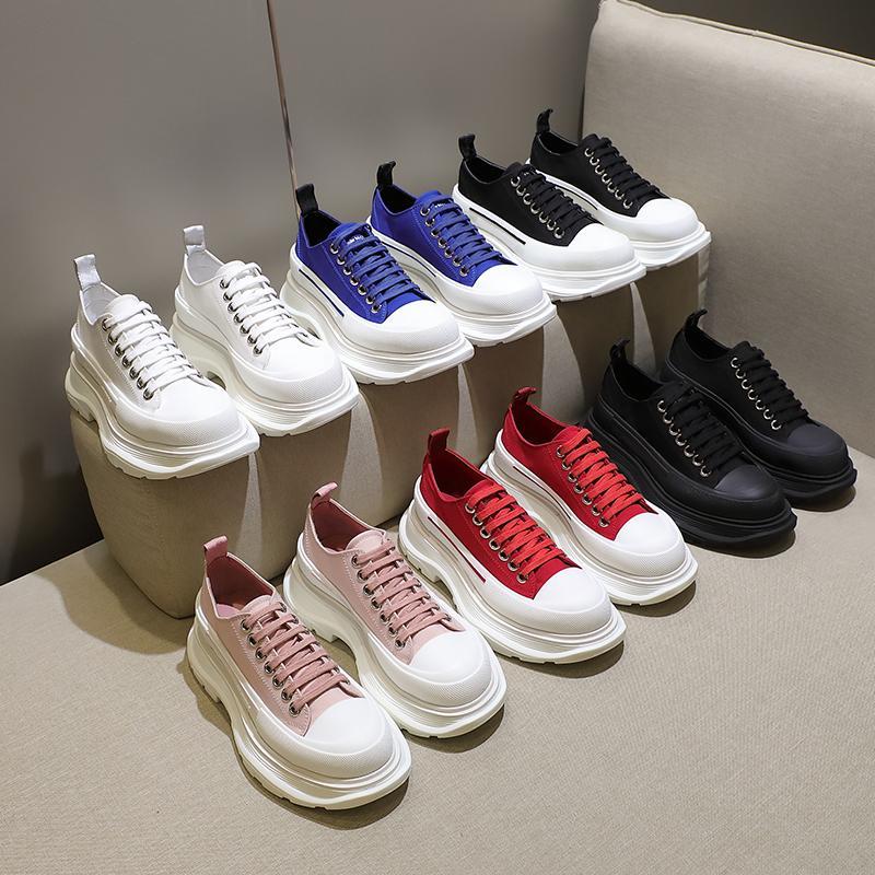 الأزياء فقي البقعة قماش حذاء سنيكرو منصة الأحذية عالية الثلاثي الأسود الأبيض الملكي شاحب الوردي الأحمر المرأة عارضة chaussures 35-40