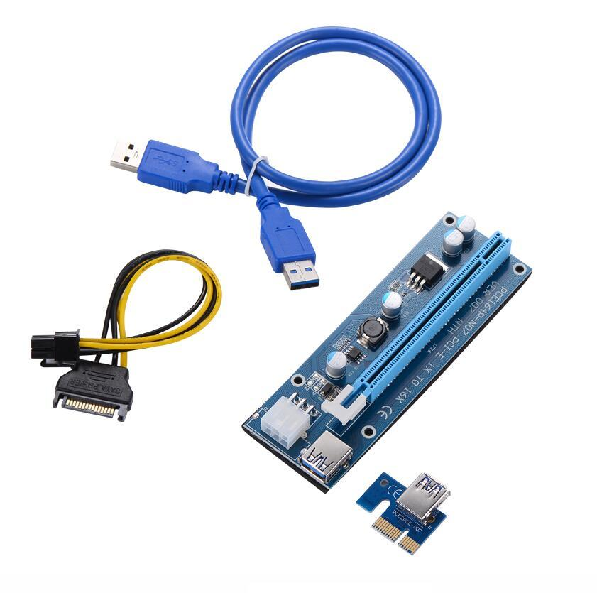 Ver 007 PCIE PCI-E PCI Express 1x a 16x CARD RISER USB 3.0 Cavo dati SATA a 6 PIN IDE Molex Alimentatore