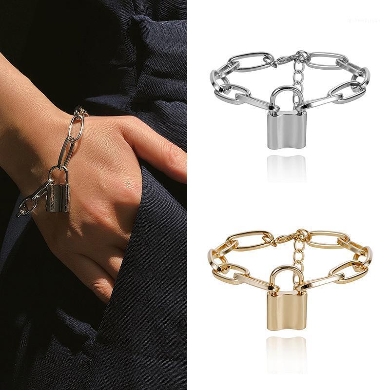 Панк замок цепи браслет женщины шарм браслет женские ювелирные изделия подарок1