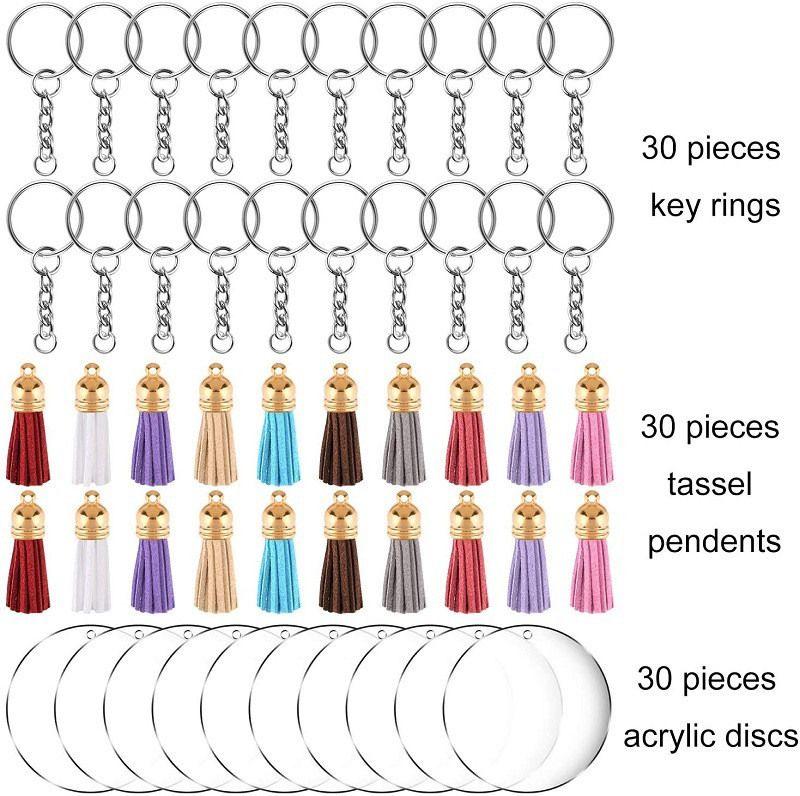 DIY Süet Püskül Anahtarlık Akrilik Şeffaf Daire Diskleri Temizle Akrilik Anahtarlık Boşlukları Püskül Kolye ve Anahtarlık Seti 90 adet / grup E112401