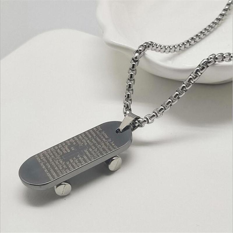 Творческий скейтборд с колесом длинный свитер цепи ожерелье хип хмель крутые мужские аксессуары1