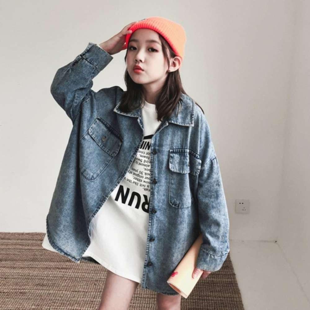 Двойная рубашка осени Двойная рубашка тонкий 2020 новый корейский середины джинсовой детской одежды