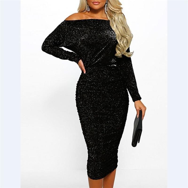 US Elegant Femmes Sexy Bateau Sexy Glitter Robe Modycon Soirée Dress Formelle Dress1