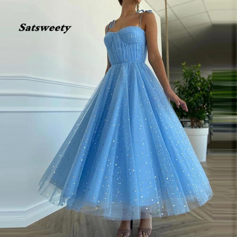 Fairy Blue Princess Prom Dresses Sparkly Starry Tulle Strapless Short Prom Gowns Pleated Tea-Length A-Line Formal Party Gowns