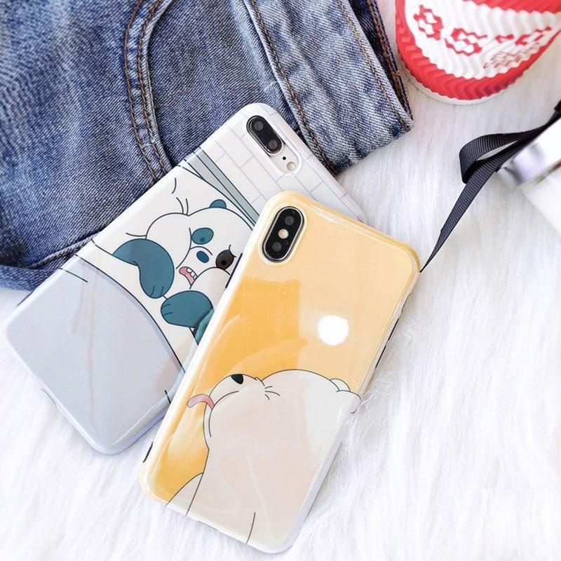Sevimli Panda ve Kutup Ayısı Karikatür Kılıfları Moda Blu-ray Güzel Ayı Arka Kapak Yumuşak TPU Telefon Kabuk Lazer Kılıf Iphone X 8 7