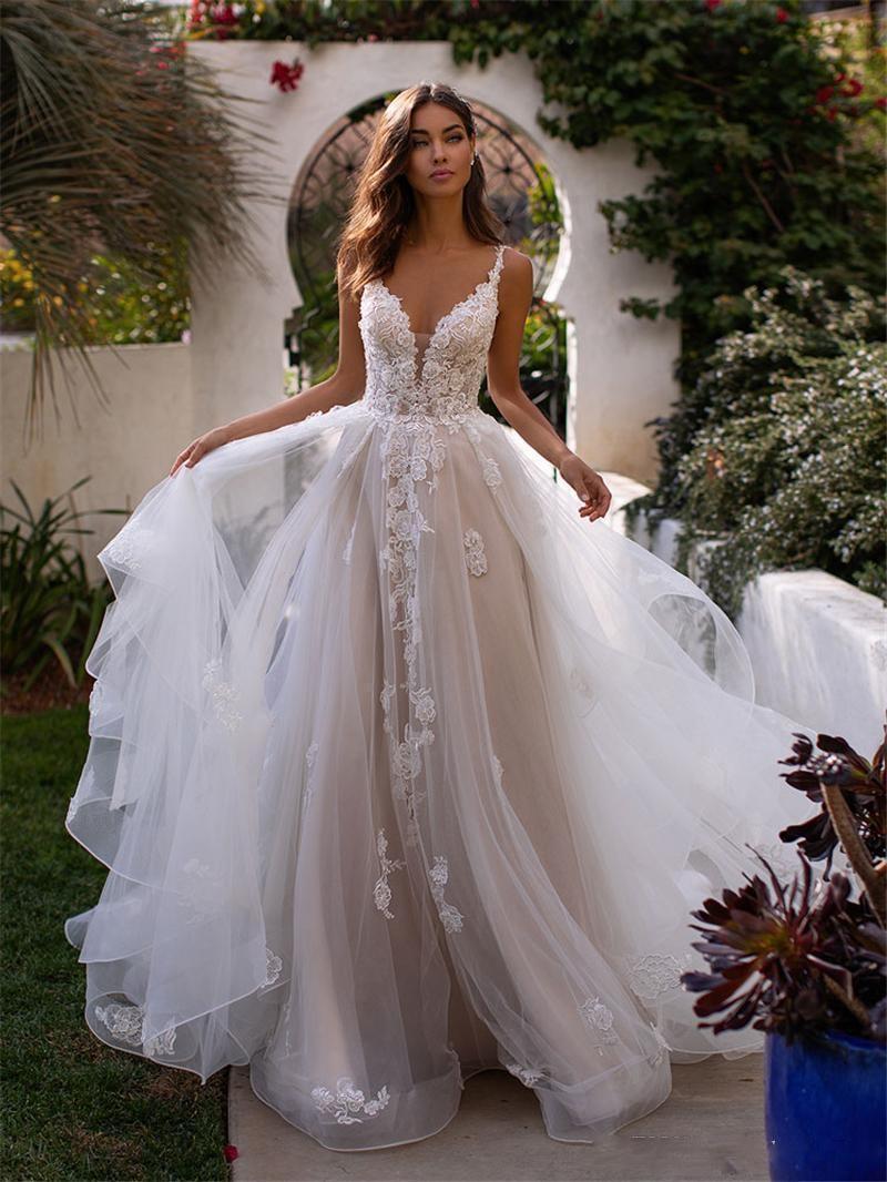 Старинные ремешки спагетти кружевные линии свадебные платья Tulle Applique Rufflescourt поезда сад свадебные свадебные платья Vestidos de Novia