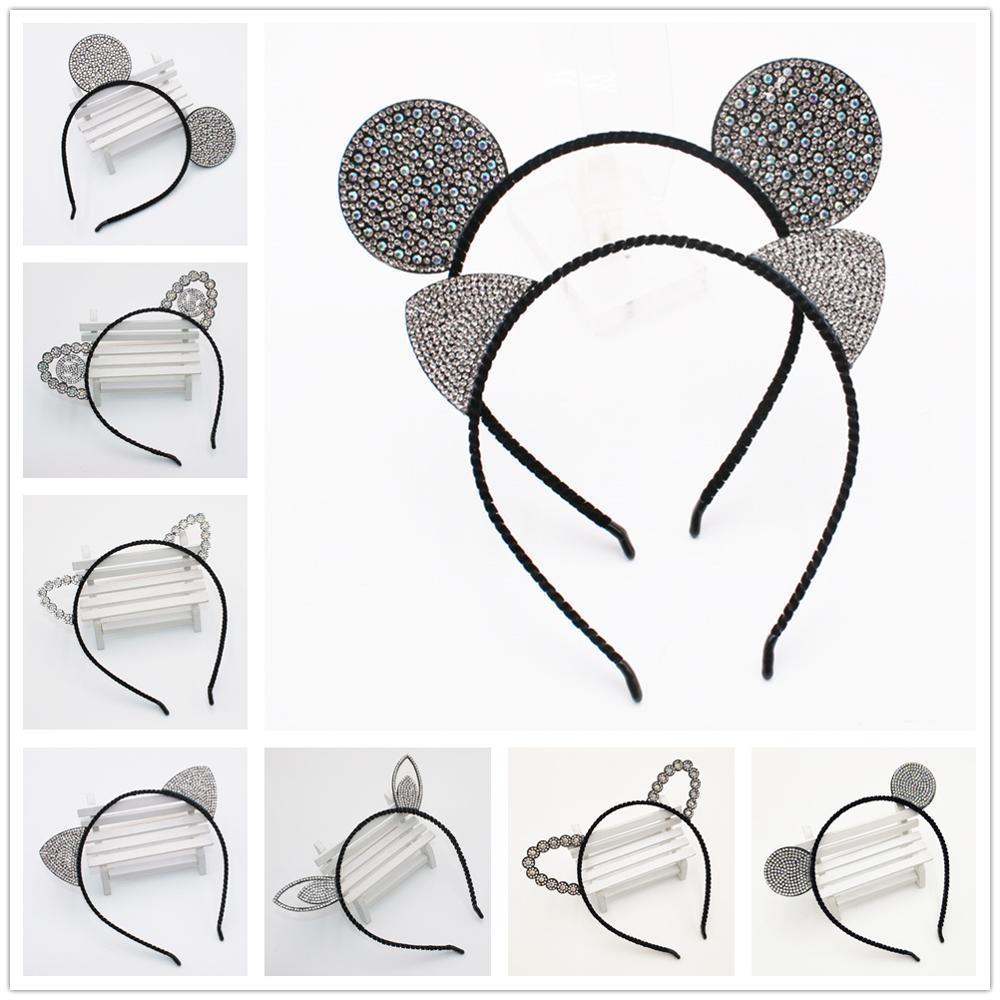 Kızlar Karikatür Fare Hairband Taç Kedi Kulakları Bantlar Çocuklar Kristal Elmas Bantları Tavşan Ayı Kulak Dantel Saç Aksesuarları
