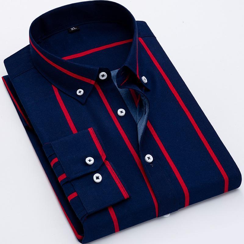 Мужские повседневные рубашки качества мода с длинным рукавом платье рубашка летняя светлая мягкая тонкая кнопка воротник классный классический молодой человек полосатый