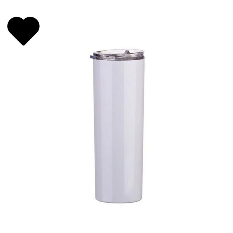 DIY 승화 공백 머그잔 20 온스 화이트 플라스틱 밀짚 투명 뚜껑 텀블러 스트레이트 절연 더블 벽 컵 스테인레스 스틸 G2
