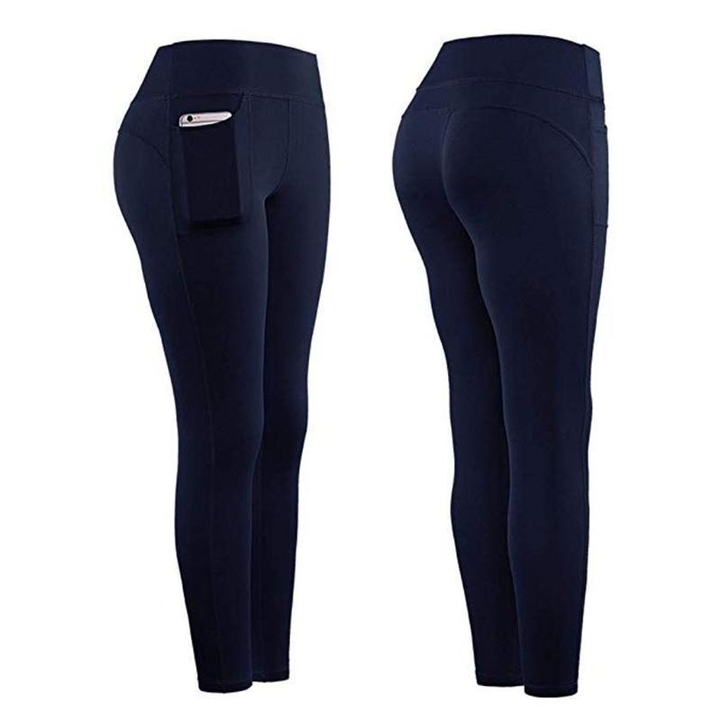 النساء تمتد اليوغا السراويل طماق اللياقة البدنية الجري رياضة جيوب الرياضية السراويل الرياضية عالية الخصر طاقة ملابس اللياقة البدنية