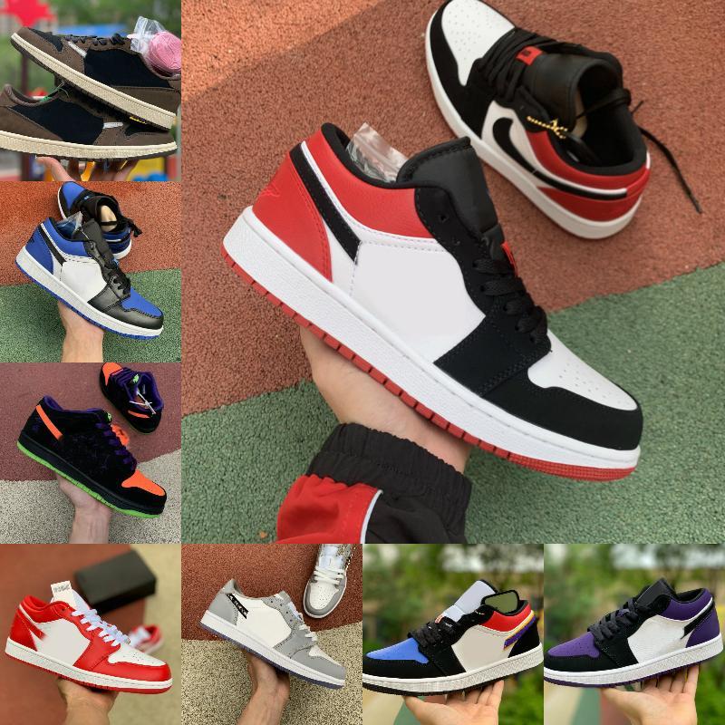 2021 Yeni Siyah Ayak 1 Erkek Basketbol Ayakkabı Düşük Tropikal Işık Travis UNC Paris Obsidiyen Ember Glow Bred Toe Retroes 1 S Kadınlar Kaykay Ayakkabı