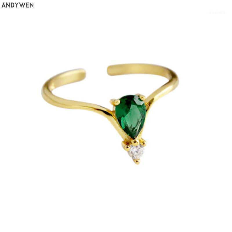 Andywen 925 Sterling Silver Green Luxury Zircon CZ Luxury Resistable Ring 2020 Fashion Female Rock Punk Slim Jewelry1