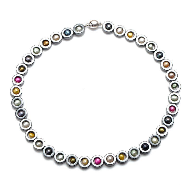 Collana di perle d'acqua dolce multicolore Black Hematite con scozzetto perline 18 pollici con una buona qualità liscio rotondo chiusura magnetica
