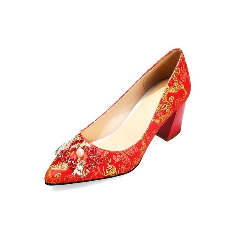 Scarpe Dress Fashion Squisita 2021 Anni Super Size 33-52 Donne Seta Single High High Heel Bocca Shallow Bocca cinese Stile cinese YM-1