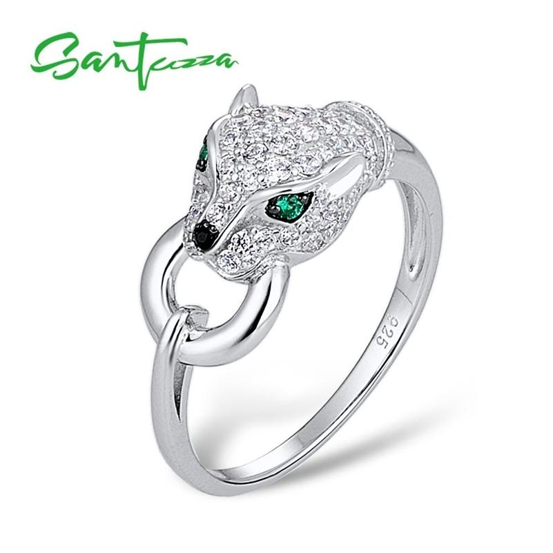 Santuzza Silver Anillo para las mujeres Pure 925 Sterling Silver Leopard Panther Ring Cubic Zirconia Anillos Partido Trendy Fine Jewelry 201218