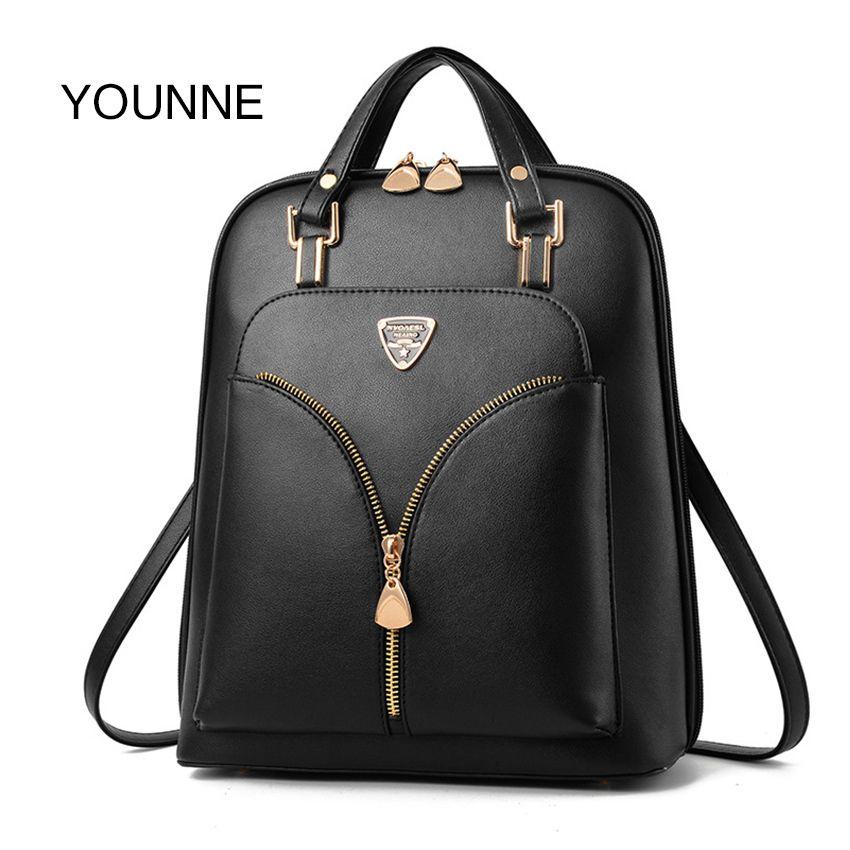 YOUNNE Luxury Leather Backpack Backpacks School Teenage Girls Mochila Feminina Bags for Women Bolsos Q1113