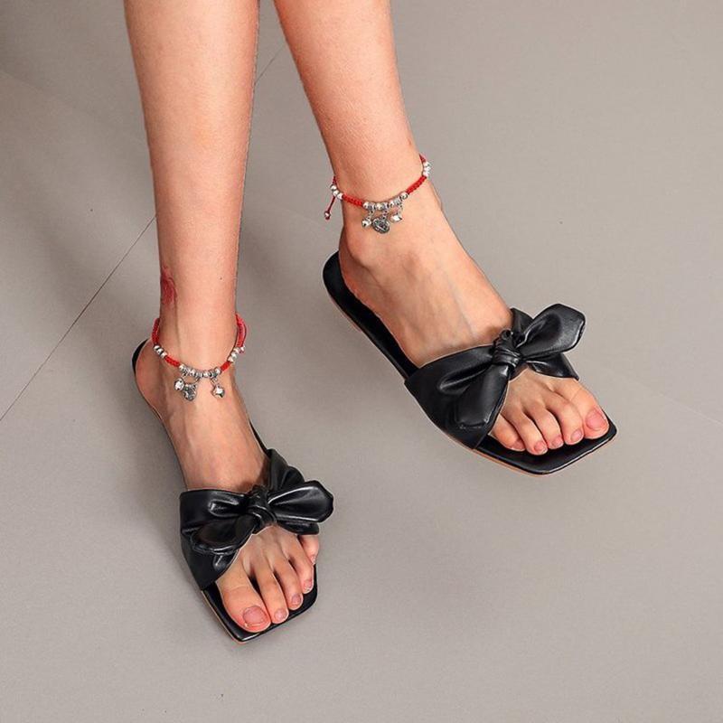 Chinelos chegados design de luxo mulheres bowknot moda pu superior mulher de borracha fundo confortável # 4