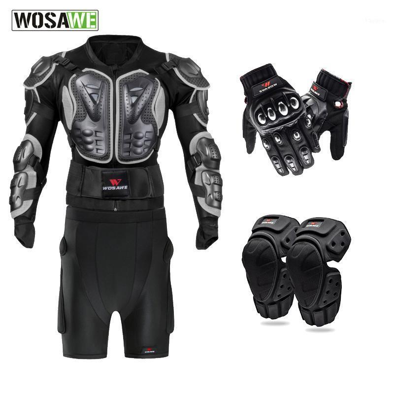 Wosawe motocicleta jaqueta curto calças kneepads luvas motocross protetor engrenagem fora da estrada Roupas de corrida quadril protetor1