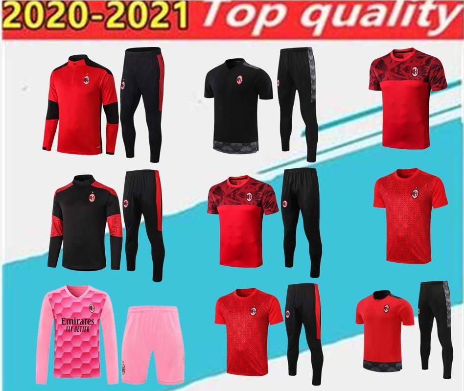 En Kaliteli 2020 AC Milano Polo Futbol Eğitim Takım Elbise Kırmızı Kazak Kiti Survetement 20/21 AC Milano Kısa Kollu Futbol Spor.