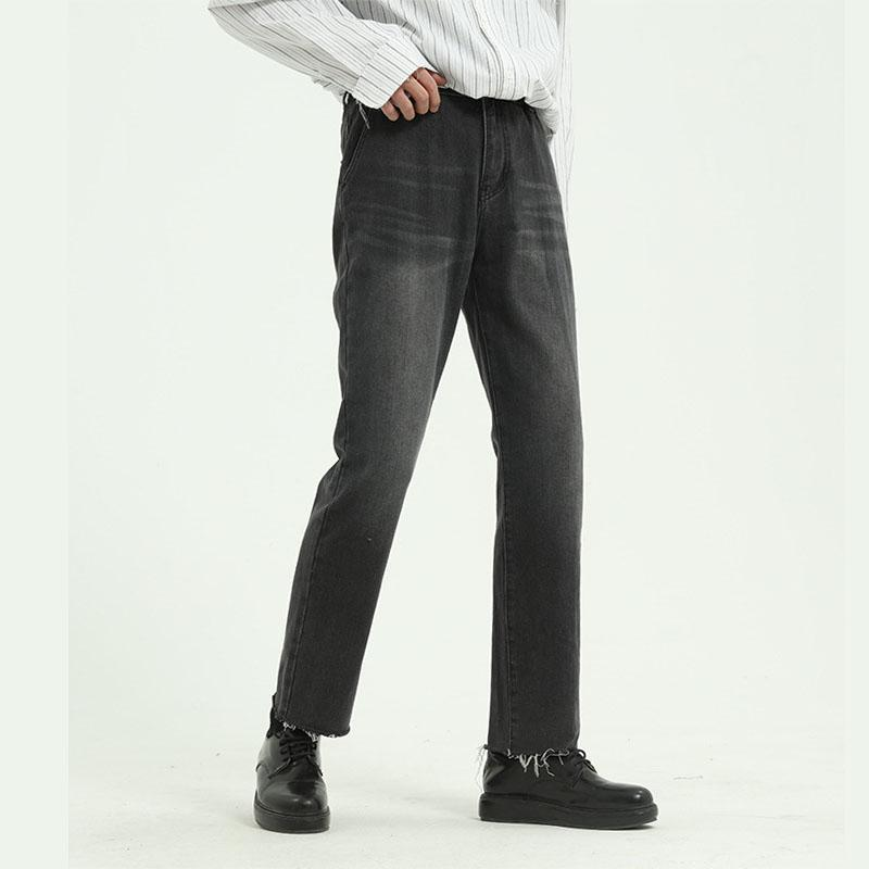 Hommes High Street Hop Hop Grey Casual Casual Hem Jeans Pant Homme Homme Japon Corée Style Vintage Denim Pantalon pantalon