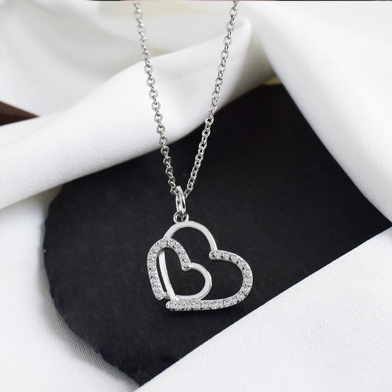 Collana in argento sterling 925 Collana doppia cuore sovrapposizione collana pendente per donna fidanzata zircone gioielli gioielli regalo