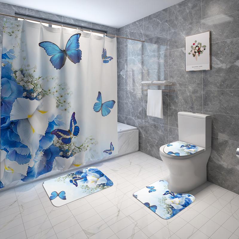 Flannel Bathroom Rugs Home Decor Bath Mat and Shower Curtain Set Toilet Bath Rugs None Slip Bathroom Carpet Toilet Floor Mat