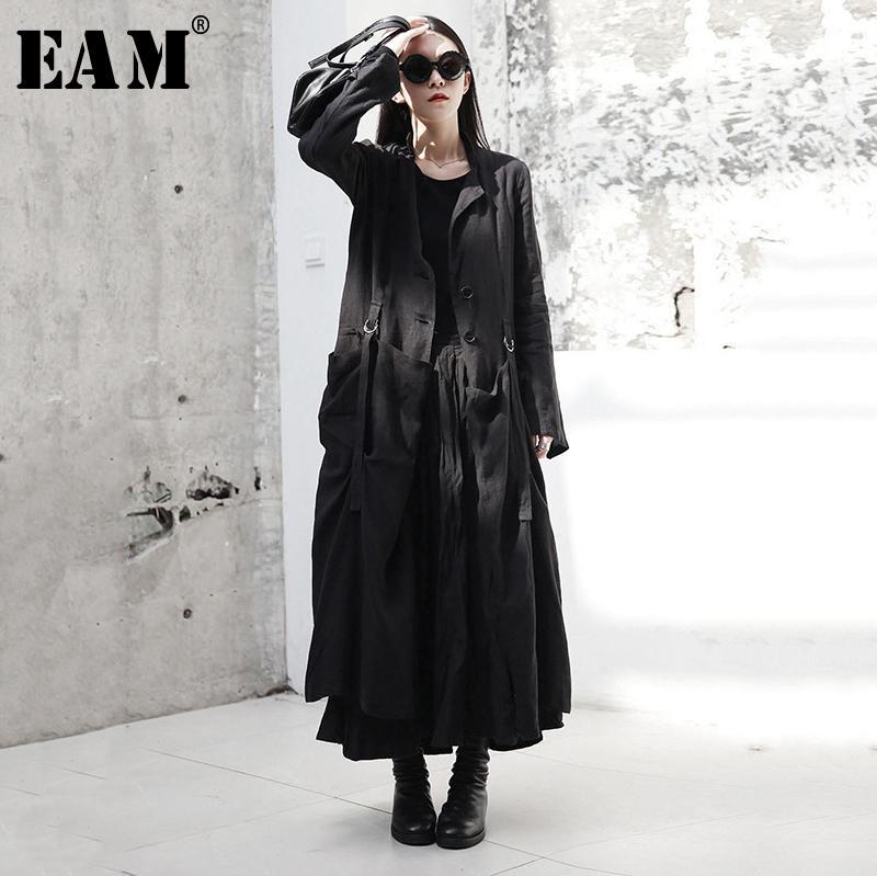[EAM] Новая весна осенью круглые шеи с длинным рукавом черная пряжка сплит Свободная длинная длинная ветровка женщины траншея мода JR485 201031