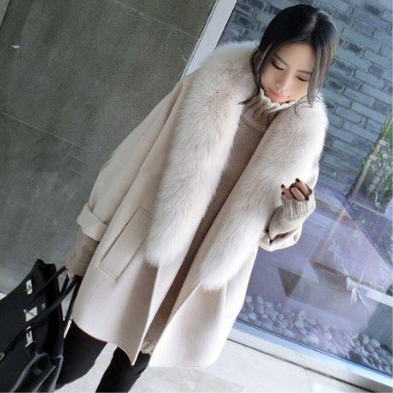 Invierno ropa mujer расслаивается плюс размер лисы кожи воротник из кашемирового пальто средней длины правая скрытая шерстяная куртка новая 9cpy