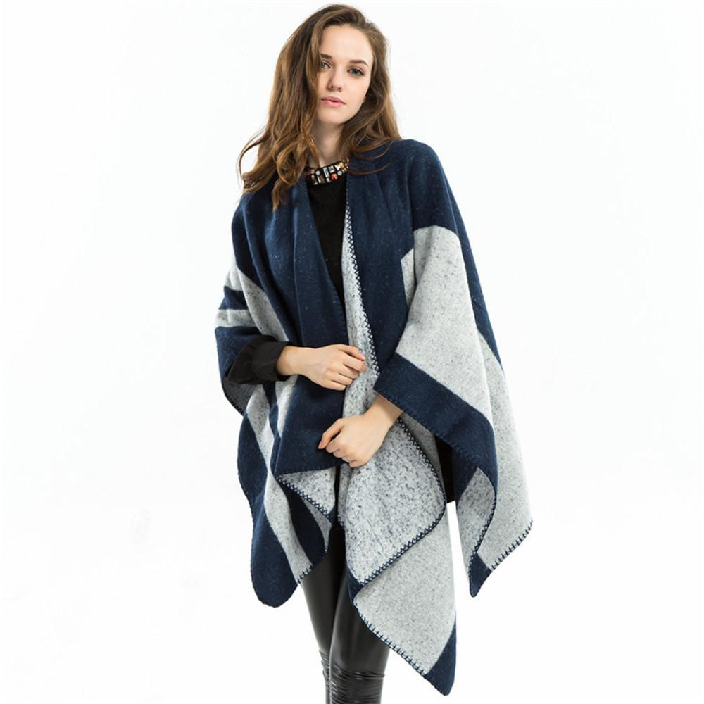 Azul gris chal dual propósito a cuadros otoño e invierno bufanda de cachemira de mujer