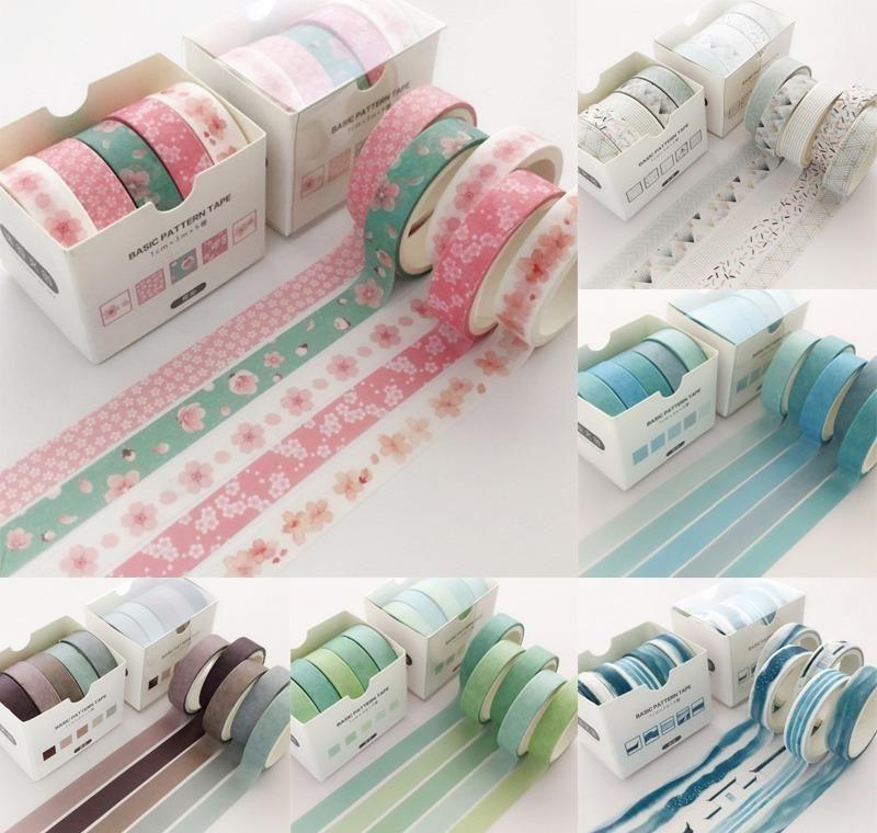 5 Pcs/pack Grid Creative Colorful Decorative Adhesive Tape Masking Washi Tape Scrapbooking Sticker Label School Office Supply 2016 bbyOtDV