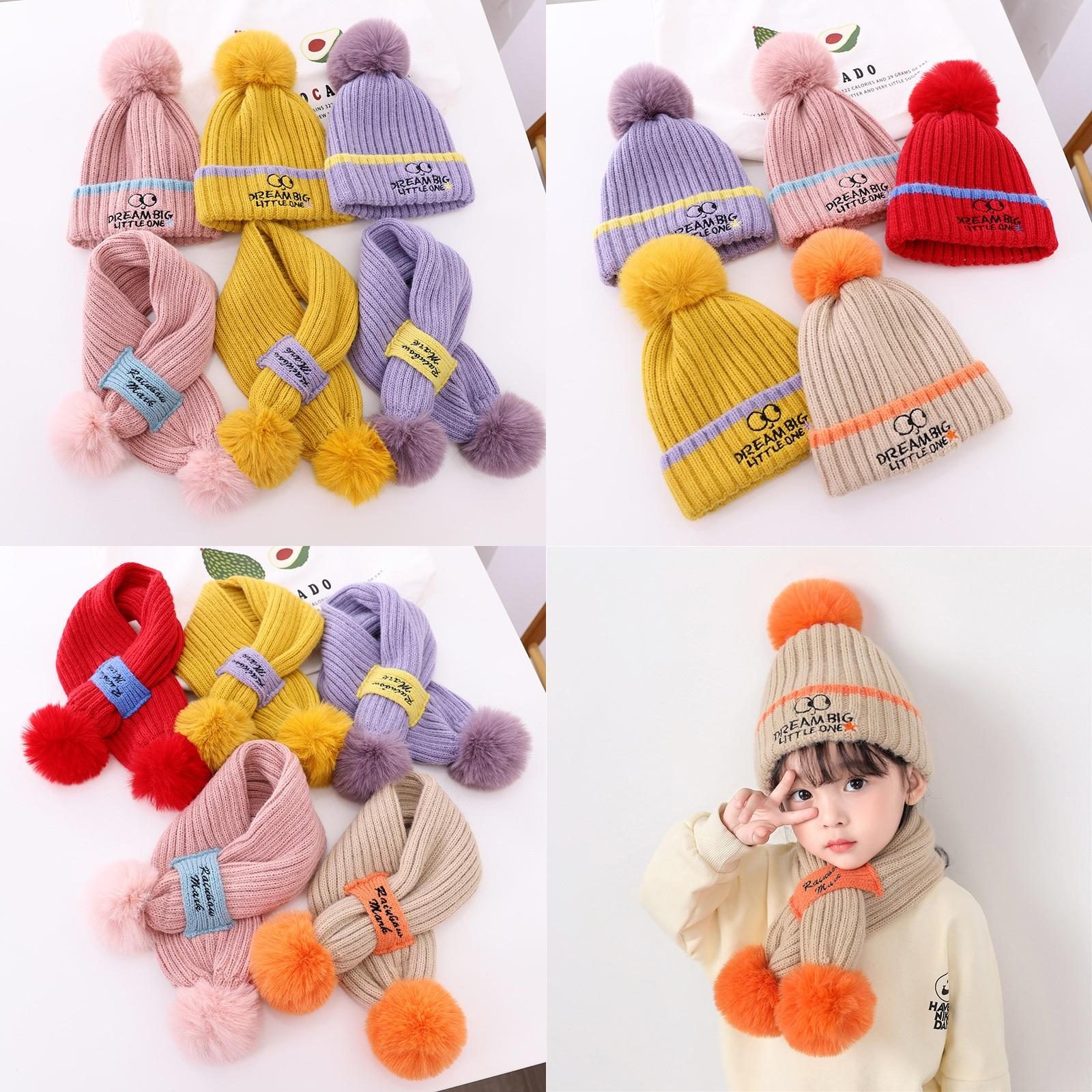 2021 Winter children's wool hat scarf embroidered eye wool balls to keep warm baby set knitted hat
