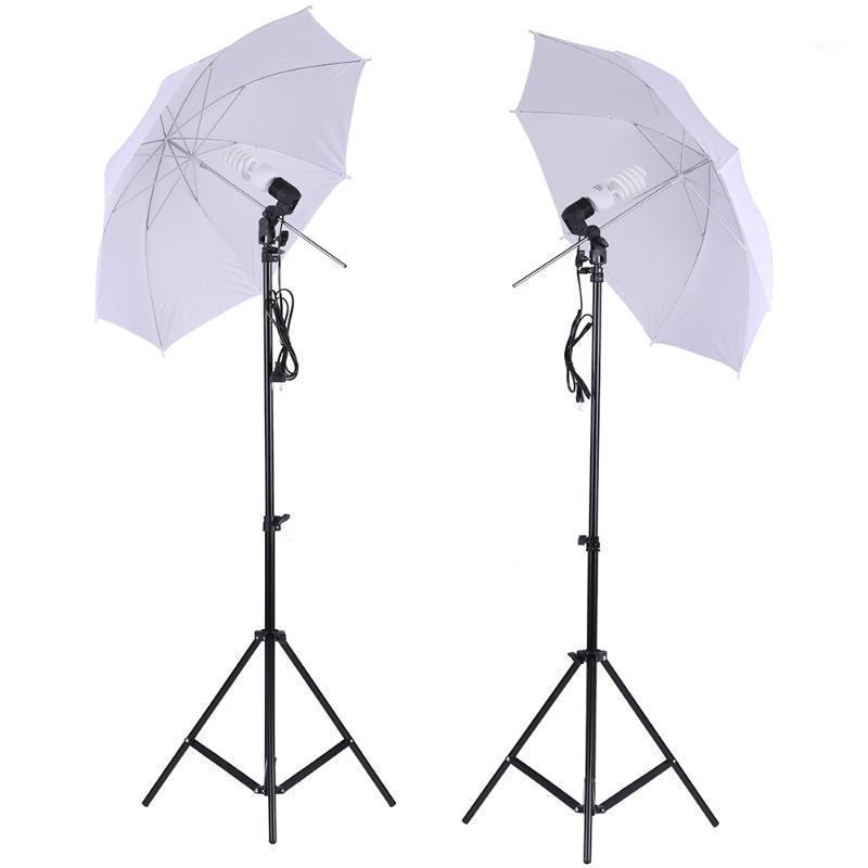 """Juego de iluminación de estudio de fotos 2pcs 2m 6m 66 pies soporte de luz + 2pcs 33 """"Paraguas suave suave de 33"""" + bulbo 45W + socket giratorio1"""