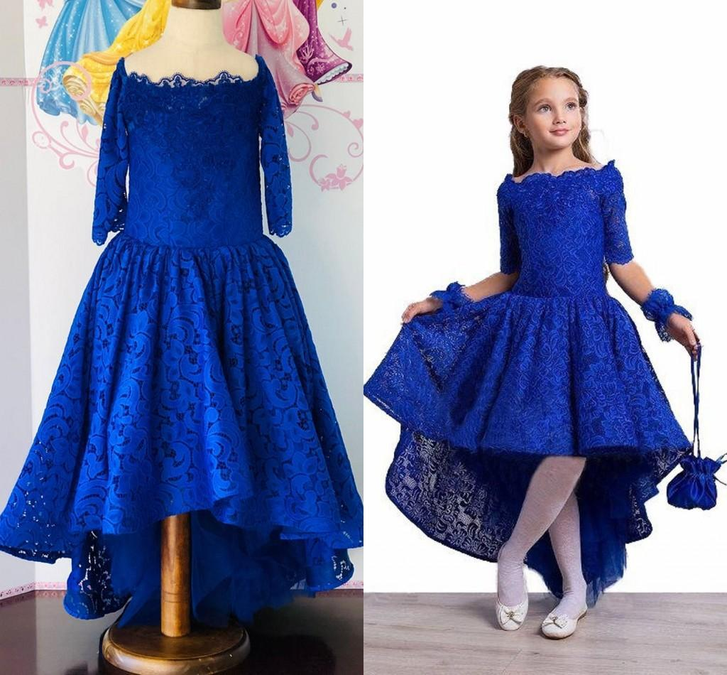 Fashion Royal Blue Hi Low Pageant Dresses Little Girls Lace Bodice Scoop Neck with 3/4 Sleeves New Prom Kids Formal Wear Flower Girls dress