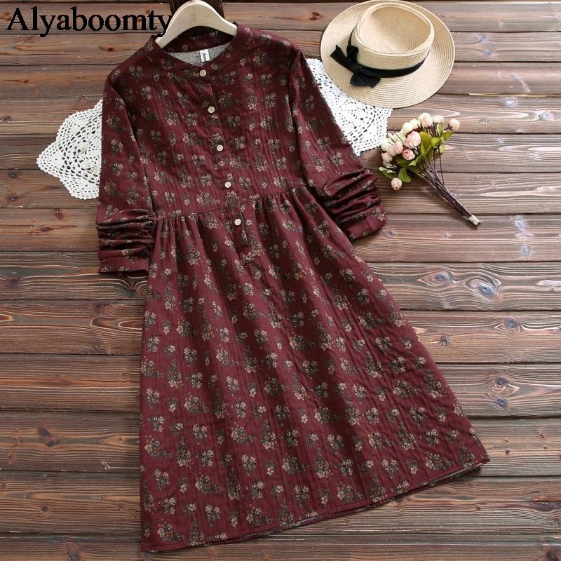 Mori mädchen herbst frühling frauen lose stehen kragen floral gedruckt baumwolle leinen baggy wein rot dunkelgrau vintage kleid