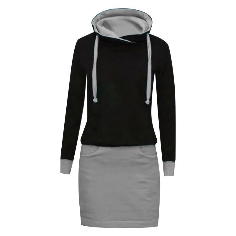 Casual Dresses Herbst Winter O Hals Langarm Damen Sweatshirt Kleid 2021 Mode Solide Lose Pocket Damen Knie Vestidos