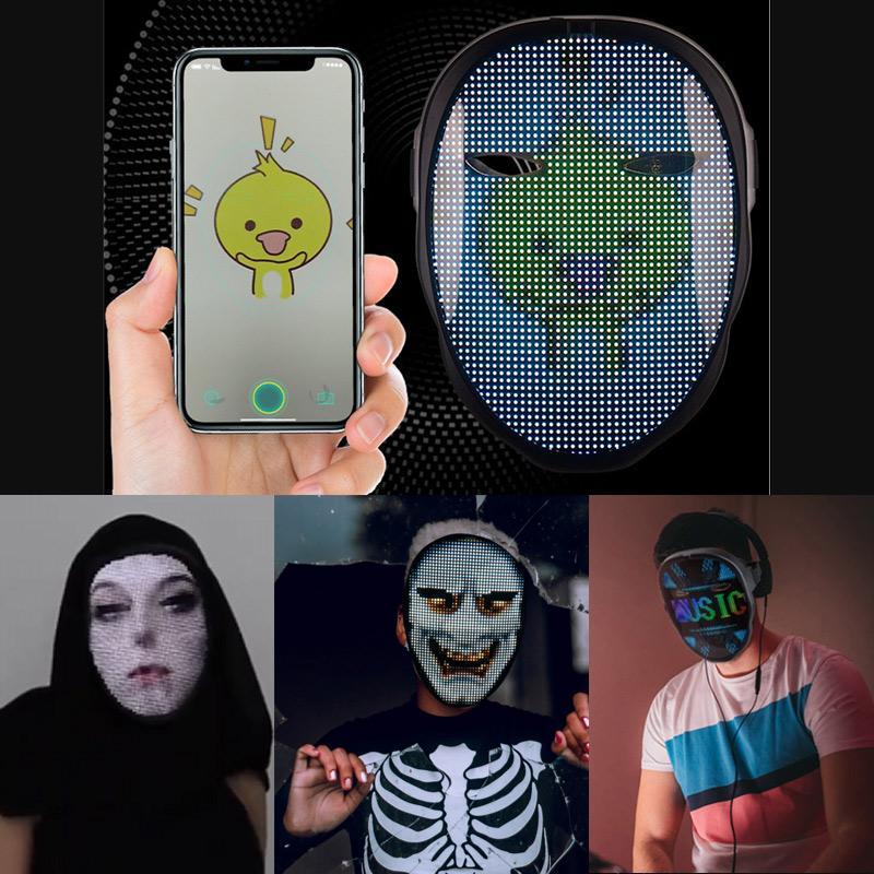 Application Bluetooth App modifier Masque Face Masque Programmable Photo de bricolage Pleine couleur Animation rougeoyante LED Masque Display Board Barre de Noël