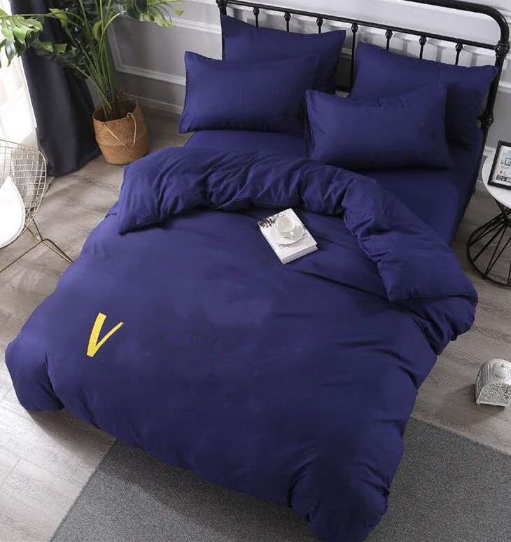 Conjuntos de cama de algodão chique letra impressa folha plana de edredão capa fronha de estilo europeu designer sólido Quenn size conjuntos de cama