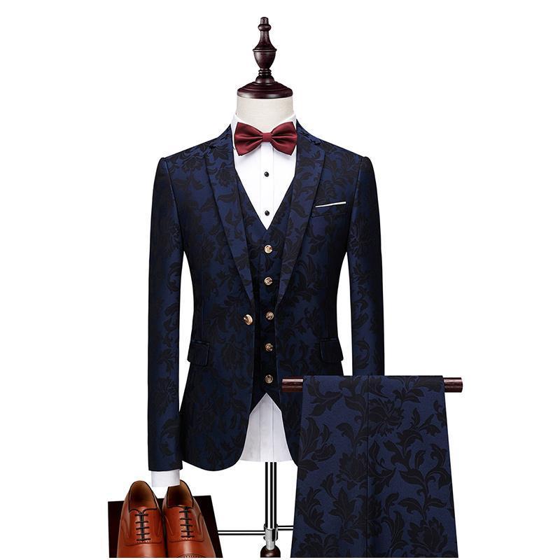 Мужские костюмы Blazers Элегантная коктейль вечеринка Groomsmen Notch Отворотный жених смокинг Бургундская куртка костюм мода Blazer Prom Dress