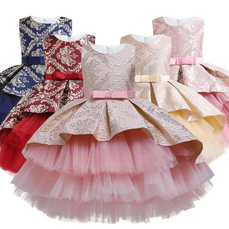 2020 Winter Baby Girl Infantil Lace Princess Tutu Dress Kids Dresses For Girls Retro Embroidery Party Birthday Dress Christmas F1202