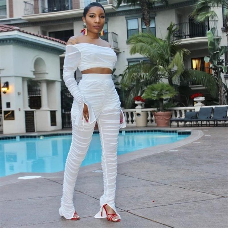 Wjustforu Sexy Sheer Mesh 2 Piece Set For Women Pullover Tops + Flare Stacked Pants Perspective Club Two Piece Set Female Slim T200528