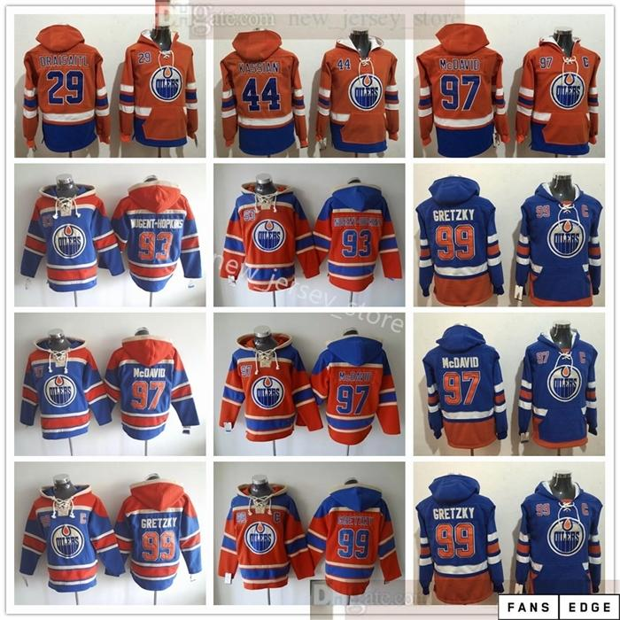 Edmonton Oilers Hockey Hoodie Jerseys 97 Connor McDavid 99 Wayne Gretzky 93 Ryan Nugent-Hopkins 44 Zack Kassian 29 Leon Draiseaitl هوديس