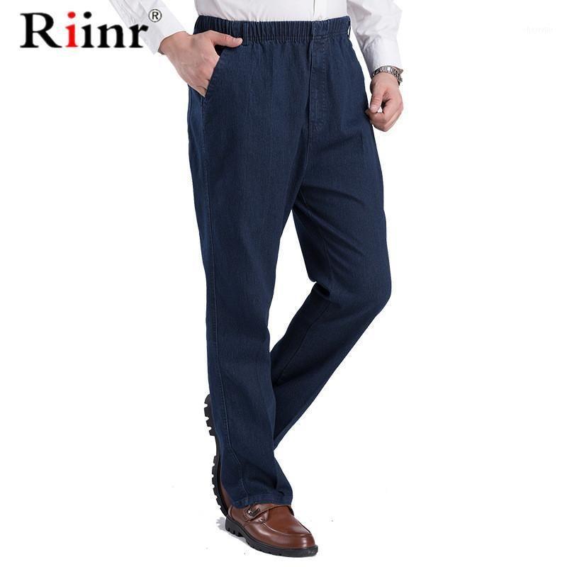 Riinr 2020 новый классический мужской упругой талии джинсы повседневные джинсы мужской бизнес стиль брюки мода человек прямые брюки размер Puls1