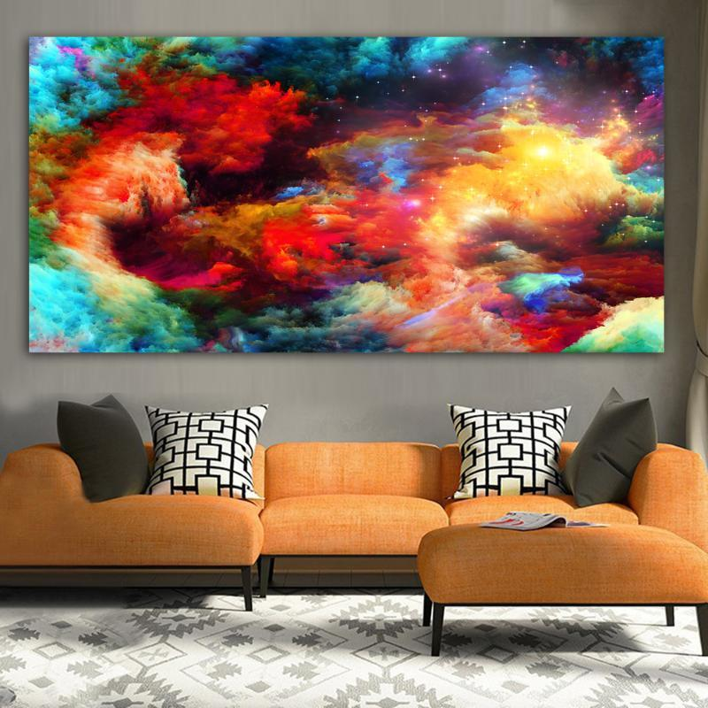 WANGART Canvas Print Abstract Watercolor Splattered Splash Textures Colorful Landscape Oil Painting Wall Picture For Living Room