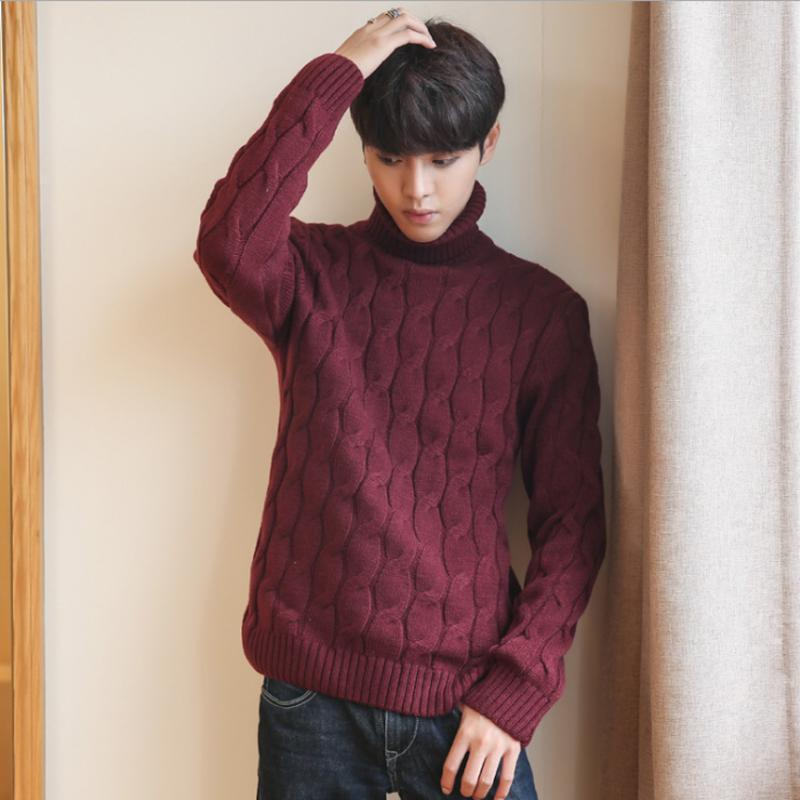 5XL Men Turtleneck Sweater Thick Knitted Pullover Winter Sweater Male High Turtle Neck Plus Size Mens Coats