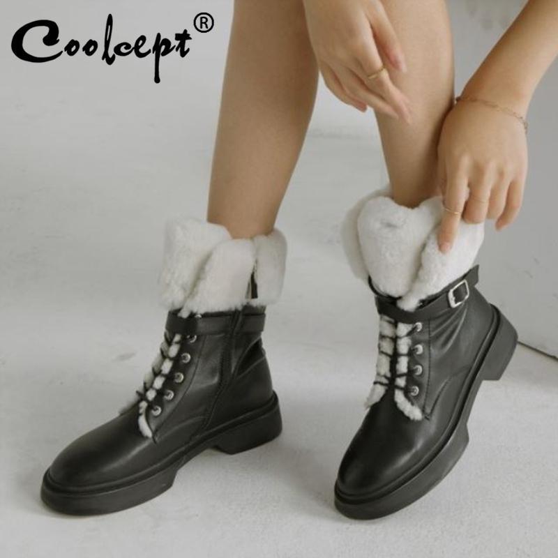 Soğutma Gerçek Deri Kadın Kar Botları Moda Sıcak Kürk Fermuar Kış Ayakkabı Kadın Kalın Kürk Ayak Bileği Boot Lady Ayakkabı Boyutu 34-39