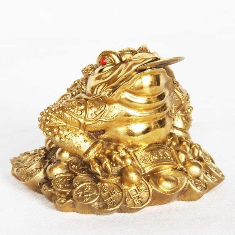 Sì Lucky Feng Shui Ottone Tre Gambe Bedged Rana Benedizione Attrarre ricchezza Soldi Metal Statua Statua della statua della statua della statina della figurina Decorazione domestica Gift1