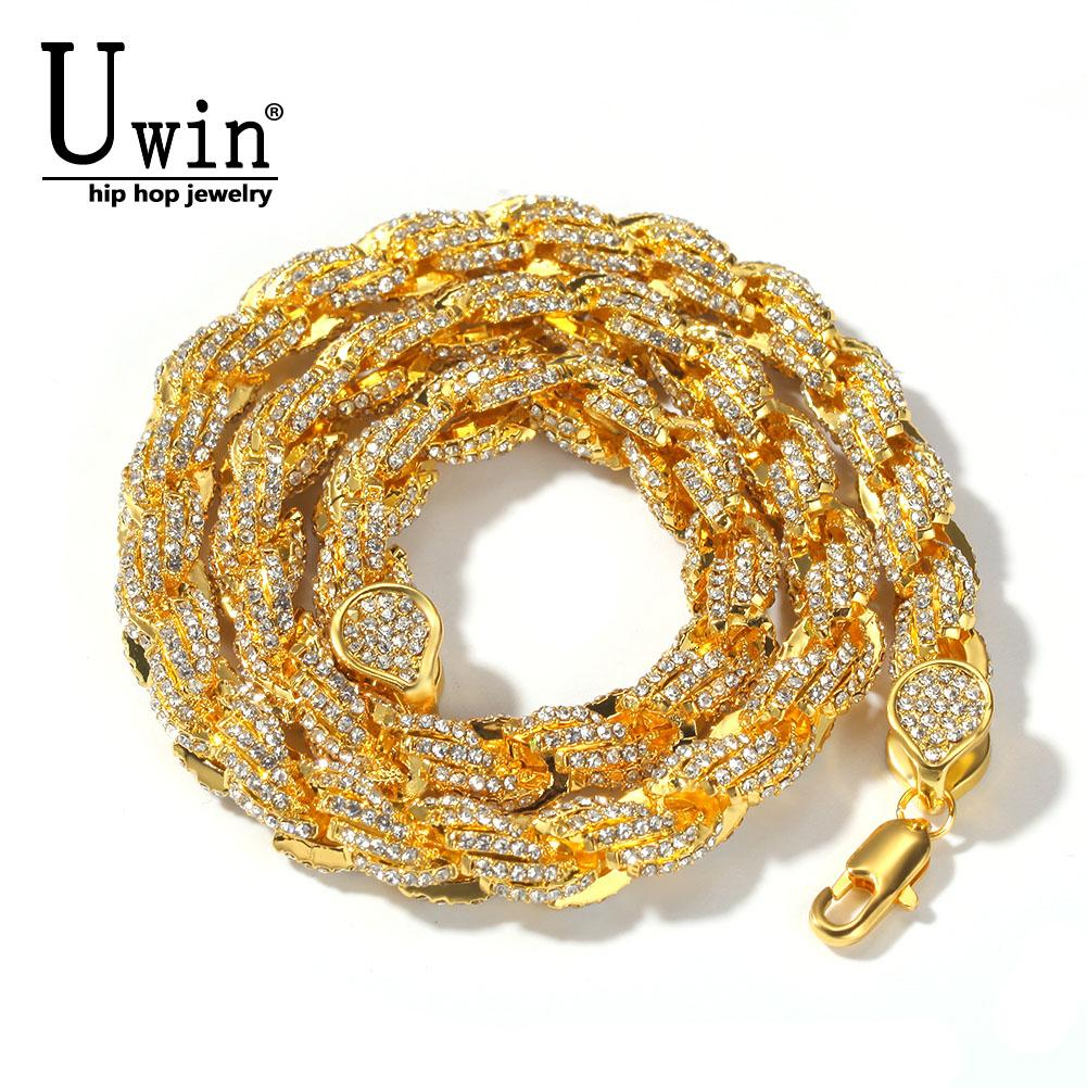 Uwin Rope Chain Necklace 9mm Full Iced Out Rhinestones Hiphop Necklaces Jewelry Men Women Drop ShippingQ0115